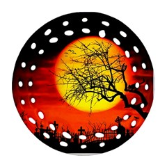 Halloween Landscape Round Filigree Ornament (two Sides) by Valentinaart