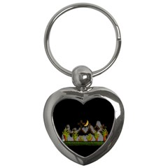Halloween Zombie Hands Key Chains (heart)  by Valentinaart