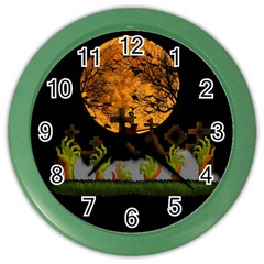 Halloween Zombie Hands Color Wall Clocks by Valentinaart