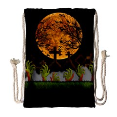 Halloween Zombie Hands Drawstring Bag (large) by Valentinaart