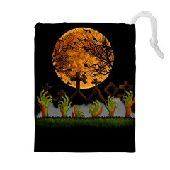 Halloween Zombie Hands Drawstring Pouches (extra Large) by Valentinaart