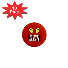 Funny Monster Face 1  Mini Magnet (10 Pack)  by linceazul