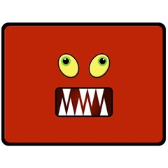 Funny Monster Face Fleece Blanket (large)  by linceazul