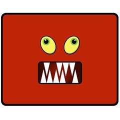 Funny Monster Face Fleece Blanket (medium)  by linceazul