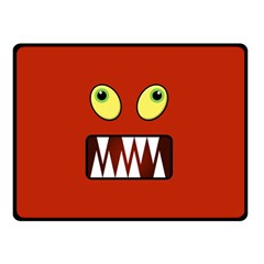 Funny Monster Face Double Sided Fleece Blanket (small)  by linceazul