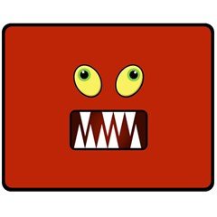 Funny Monster Face Double Sided Fleece Blanket (medium)  by linceazul