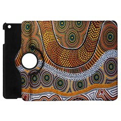 Aboriginal Traditional Pattern Apple Ipad Mini Flip 360 Case by Onesevenart