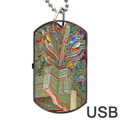 Traditional Korean Painted Paterns Dog Tag Usb Flash (one Side) by Onesevenart