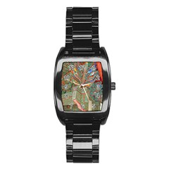 Traditional Korean Painted Paterns Stainless Steel Barrel Watch by Onesevenart