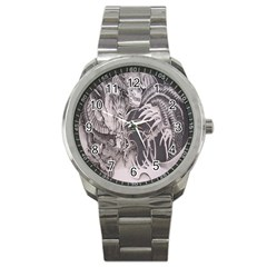 Chinese Dragon Tattoo Sport Metal Watch by Onesevenart