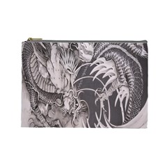 Chinese Dragon Tattoo Cosmetic Bag (large)  by Onesevenart