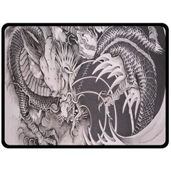Chinese Dragon Tattoo Double Sided Fleece Blanket (large)  by Onesevenart