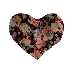Japanese Ethnic Pattern Standard 16  Premium Flano Heart Shape Cushions by Onesevenart