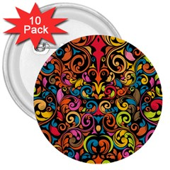 Art Traditional Pattern 3  Buttons (10 Pack)  by Onesevenart
