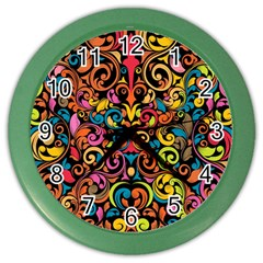 Art Traditional Pattern Color Wall Clocks by Onesevenart