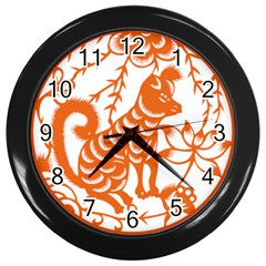 Chinese Zodiac Dog Wall Clocks (black) by Onesevenart
