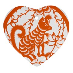 Chinese Zodiac Dog Heart Ornament (two Sides) by Onesevenart