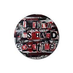 Top Lyrics   Twenty One Pilots The Run And Boys Rubber Round Coaster (4 Pack)  by Onesevenart