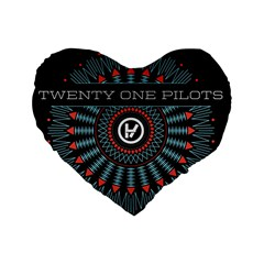 Twenty One Pilots Standard 16  Premium Flano Heart Shape Cushions by Onesevenart