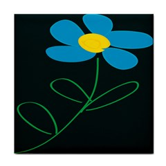 Whimsical Blue Flower Green Sexy Tile Coasters by Mariart