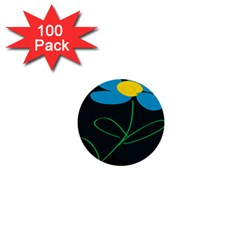 Whimsical Blue Flower Green Sexy 1  Mini Buttons (100 Pack)  by Mariart