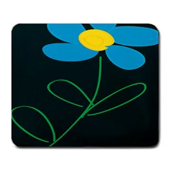 Whimsical Blue Flower Green Sexy Large Mousepads by Mariart