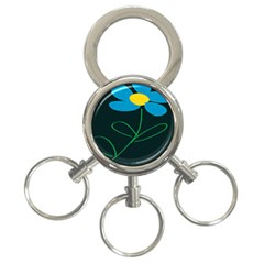 Whimsical Blue Flower Green Sexy 3 Ring Key Chains by Mariart