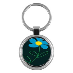 Whimsical Blue Flower Green Sexy Key Chains (round)  by Mariart