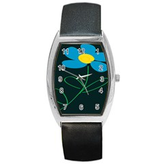 Whimsical Blue Flower Green Sexy Barrel Style Metal Watch by Mariart