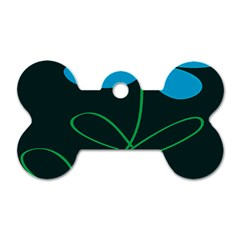 Whimsical Blue Flower Green Sexy Dog Tag Bone (one Side) by Mariart