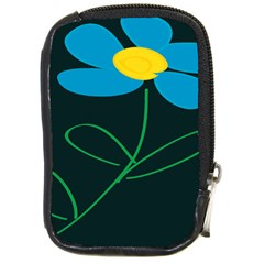 Whimsical Blue Flower Green Sexy Compact Camera Cases by Mariart