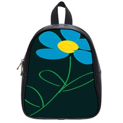 Whimsical Blue Flower Green Sexy School Bag (small) by Mariart
