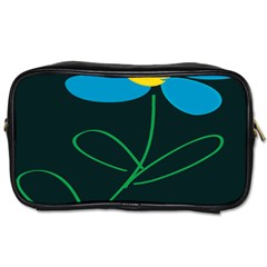 Whimsical Blue Flower Green Sexy Toiletries Bags 2 Side by Mariart