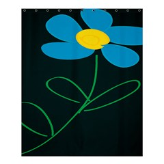 Whimsical Blue Flower Green Sexy Shower Curtain 60  X 72  (medium)  by Mariart