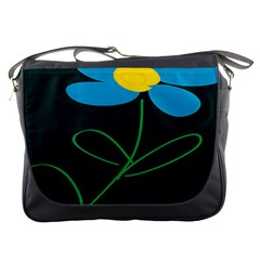 Whimsical Blue Flower Green Sexy Messenger Bags by Mariart