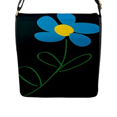Whimsical Blue Flower Green Sexy Flap Messenger Bag (l)  by Mariart