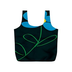 Whimsical Blue Flower Green Sexy Full Print Recycle Bags (s)  by Mariart