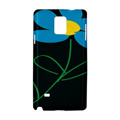 Whimsical Blue Flower Green Sexy Samsung Galaxy Note 4 Hardshell Case by Mariart