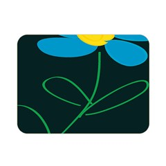 Whimsical Blue Flower Green Sexy Double Sided Flano Blanket (mini)  by Mariart