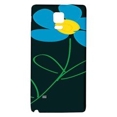 Whimsical Blue Flower Green Sexy Galaxy Note 4 Back Case by Mariart