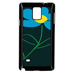 Whimsical Blue Flower Green Sexy Samsung Galaxy Note 4 Case (black) by Mariart