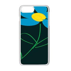 Whimsical Blue Flower Green Sexy Apple Iphone 7 Plus White Seamless Case by Mariart
