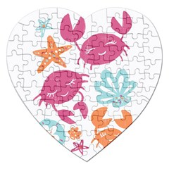Animals Sea Flower Tropical Crab Jigsaw Puzzle (heart) by Mariart