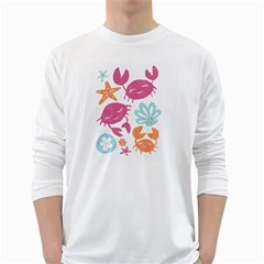 Animals Sea Flower Tropical Crab White Long Sleeve T Shirts by Mariart