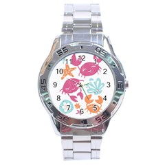 Animals Sea Flower Tropical Crab Stainless Steel Analogue Watch by Mariart