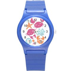 Animals Sea Flower Tropical Crab Round Plastic Sport Watch (s) by Mariart