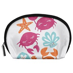 Animals Sea Flower Tropical Crab Accessory Pouches (large)  by Mariart