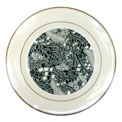 Abstract Floral Pattern Grey Porcelain Plates by Mariart