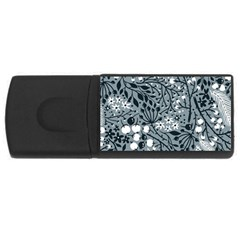 Abstract Floral Pattern Grey Rectangular Usb Flash Drive by Mariart