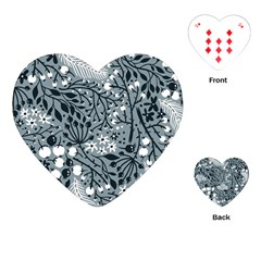 Abstract Floral Pattern Grey Playing Cards (heart)  by Mariart